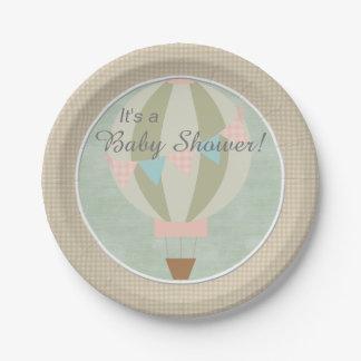Gorgeous Hot Air Balloon Neutral Baby Shower Paper Plate