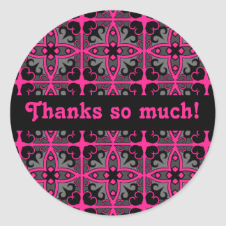 Gorgeous kaleidoscope in hot pink, gray and black round sticker