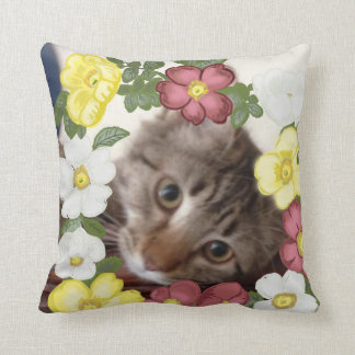 Gorgeous Kitten and Flower Garland Cushion