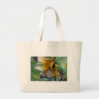 Gorgeous Monarch Butterfly on Sunflower Canvas Bags