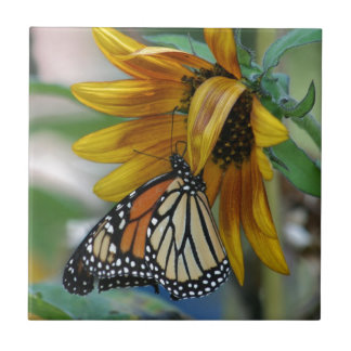 Gorgeous Monarch Butterfly on Sunflower Ceramic Tile