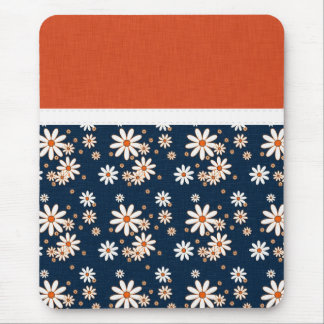 Gorgeous Navy Blue & Orange Floral Mouse Pad