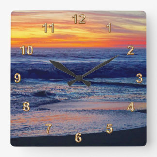 Gorgeous Night Sunset Beach CLOCKS or YOUR PHOTO