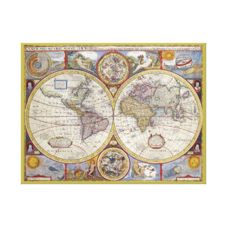 Gorgeous old-world vintage map canvas print