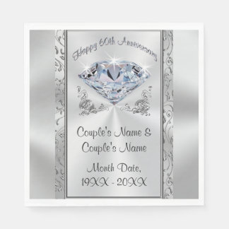Gorgeous Personalized 60th Anniversary Napkins Disposable Serviettes