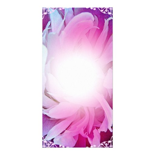 Gorgeous Pink Blossom and White swirls Customized Photo Card