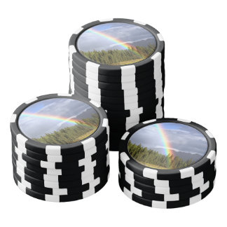 Gorgeous rainbow at beautiful cloudy summer day poker chips