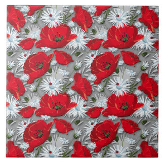 Gorgeous red poppies summer flowers pattern large square tile