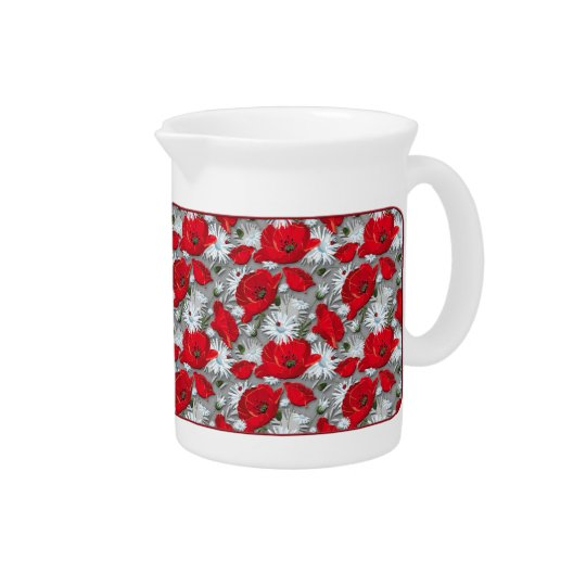 Gorgeous red poppies summer flowers pattern pitchers