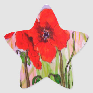 Gorgeous Red Poppy Designed Products Star Sticker