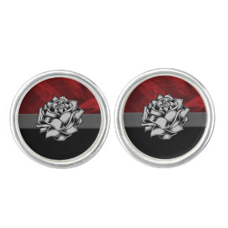 Gorgeous Red Rose Grunge Gift Cufflinks