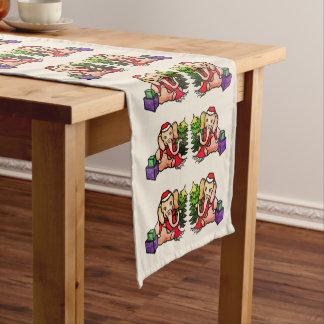 Gorgeous Retro Festive Santa Christmas Elephants Medium Table Runner