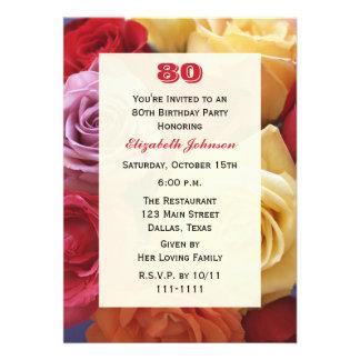 Gorgeous Roses 80th Birthday Party Invitation Invitation