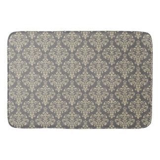Gorgeous Royal Floral Damask Pattern On Gray Bath Mat