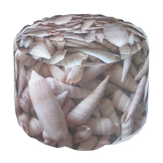 Gorgeous Seashells Up Close Round Pouf