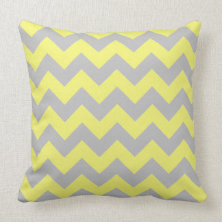 Gorgeous Shades of Yellow and Gray Chevron Pattern Throw Pillow