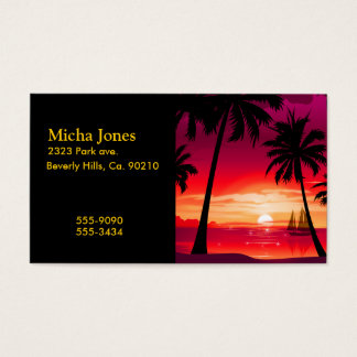 Gorgeous Shimmery Island Sunset & Sailboat Business Card