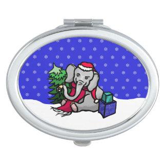 Gorgeous Snowflakes Christmas Santa Elephant Vanity Mirror