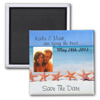 Gorgeous starfish beach save the date photo magnet