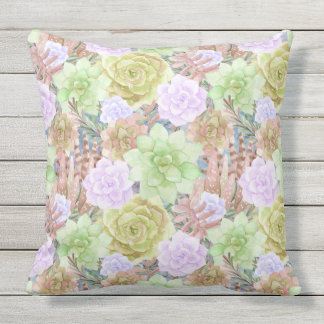 Gorgeous Succulents | Watercolor Painted | Square Outdoor Cushion
