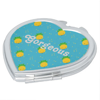 Gorgeous Sweet Pineapple Heart Compact Mirror