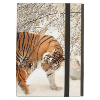 Gorgeous tiger and cub in snow cover for iPad air