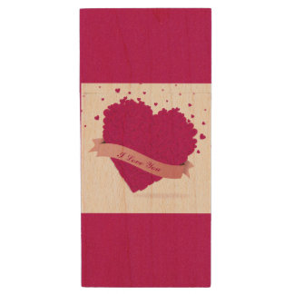 Gorgeous Valentine's day pink heart Wood USB 2.0 Flash Drive
