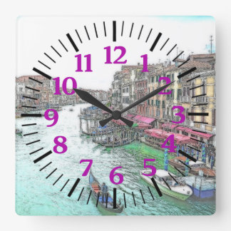 Gorgeous Venice Italy with Purple Numerals Square Wall Clock