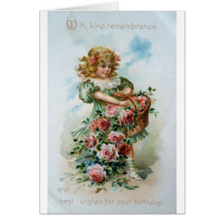 Gorgeous Victorian Girl With Roses Card