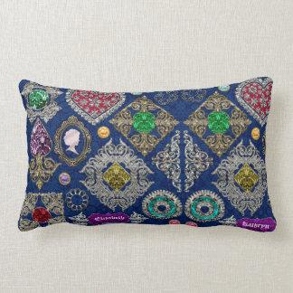 Gorgeous Victorian Jewelry Brooch Gemstone Collage Lumbar Cushion