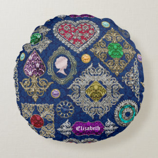 Gorgeous Victorian Jewelry Brooch Gemstone Collage Round Cushion