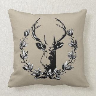 Gorgeous Vintage and Rustic Deer in Laurel Leaves Cushion