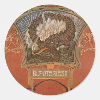 Gorgeous Vintage Art Nouveau Cards, Postcards Round Sticker