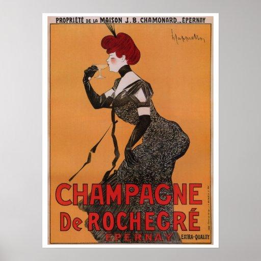 Gorgeous vintage art nouveau French champagne ad Posters