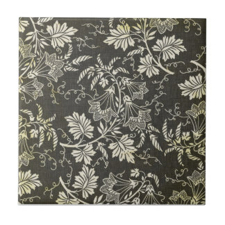 Gorgeous Vintage Black and Cream Floral, Damask Small Square Tile
