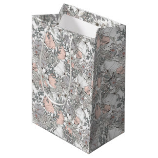 Gorgeous vintage flowers pastel colors romantic medium gift bag