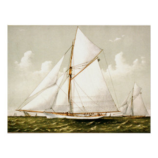 Gorgeous Vintage Nautical Art of Sail boats Poster
