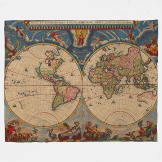 Gorgeous Vintage old world Map Fleece Blanket