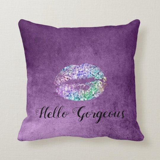 Gorgeous Violet Purple Amethys Glam Kiss Lips Blue Cushion