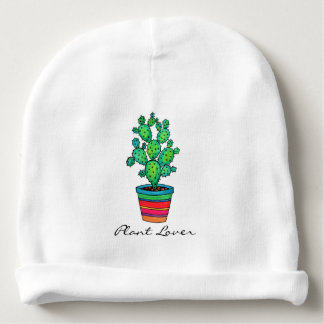 Gorgeous Watercolor Cactus In Beautiful Pot Baby Beanie