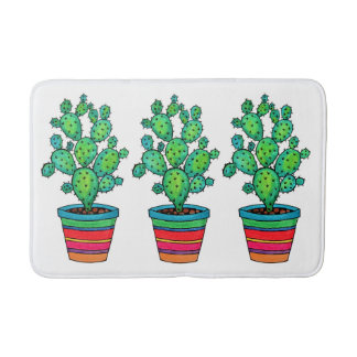 Gorgeous Watercolor Cactus In Beautiful Pot Bath Mat