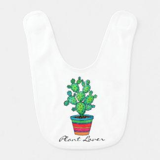 Gorgeous Watercolor Cactus In Beautiful Pot Bib