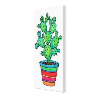 Gorgeous Watercolor Cactus In Beautiful Pot Canvas Print