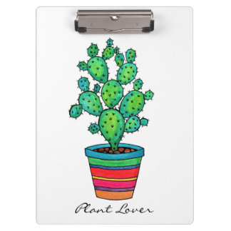 Gorgeous Watercolor Cactus In Beautiful Pot Clipboard