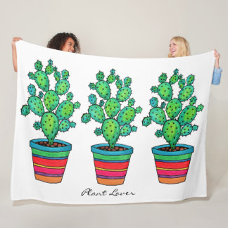 Gorgeous Watercolor Cactus In Beautiful Pot Fleece Blanket