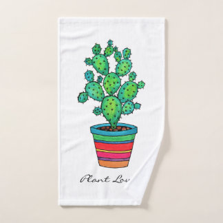 Gorgeous Watercolor Cactus In Beautiful Pot Hand Towel