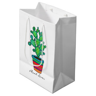 Gorgeous Watercolor Cactus In Beautiful Pot Medium Gift Bag