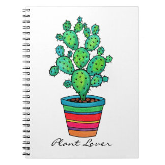 Gorgeous Watercolor Cactus In Beautiful Pot Notebook