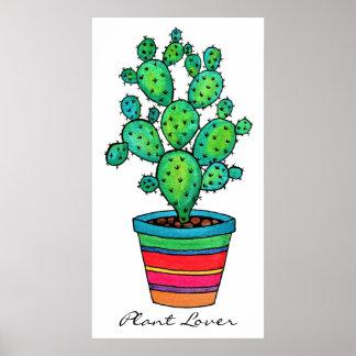 Gorgeous Watercolor Cactus In Beautiful Pot Poster