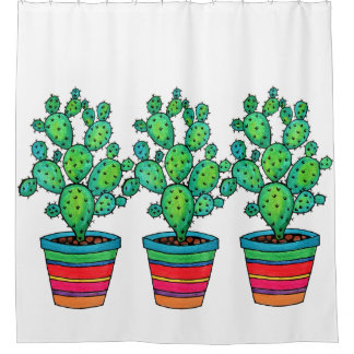 Gorgeous Watercolor Cactus In Beautiful Pot Shower Curtain